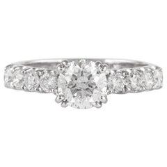 EGL Certified E Color 1 Carat Round Diamond Engagement Ring 18 Karat White Gold