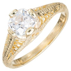 EGL Certified 1.01 Carat Diamond Yellow Gold Engagement Ring