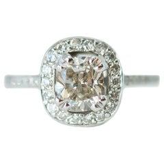 EGL Certified 1.04 Carat Princess Cut Diamond Halo 18 Karat Gold Engagement Ring