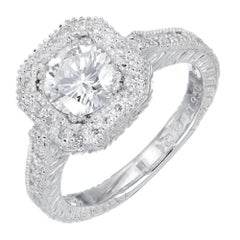 EGL Certified 1.05 Carat Diamond Platinum Engagement Ring
