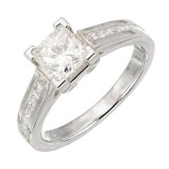 Egl Certified 1.05 Princess Cut Diamond Channel Set Platinum Engagement Ring