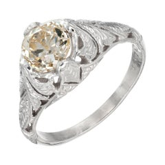 EGL Certified 1.13 Carat Yellow Brown Diamond White Gold Engagement Ring