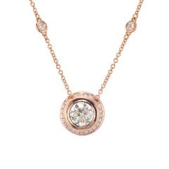EGL Certified 1.15 Carat Bezel Set Diamond Rose Gold Halo Pendant