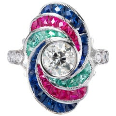 EGL Certified 1.18 Carat Diamond Ruby Emerald Sapphire White Gold Cocktail Ring