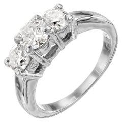 EGL Certified 1.20 Carat Diamond White Gold Three-Stone Engagement Ring