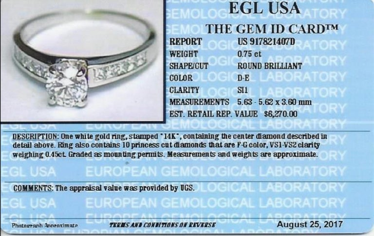 Modern EGL Certified 1.20 Carat Engagement Ring For Sale