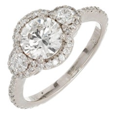 EGL Certified 1.26 Carat Three-Stone Diamond Halo Gold Engagement Ring