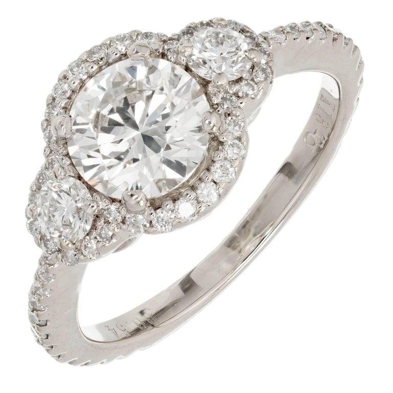 EGL Certified 1.26 Carat Three-Stone Diamond Halo Gold Engagement Ring