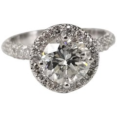 Egl Certified 1.32 G SI3 Brilliant Cut Diamond with 3-Row Pave and Halo