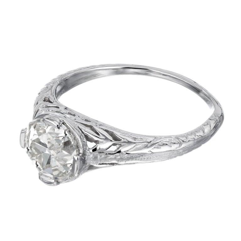 Old European Cut EGL Certified 1.36 Carat Diamond Platinum Art Nouveau Engagement Ring For Sale