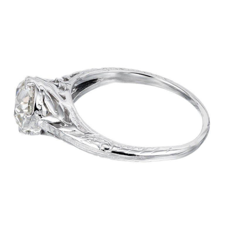 EGL Certified 1.36 Carat Diamond Platinum Art Nouveau Engagement Ring In Excellent Condition For Sale In Stamford, CT