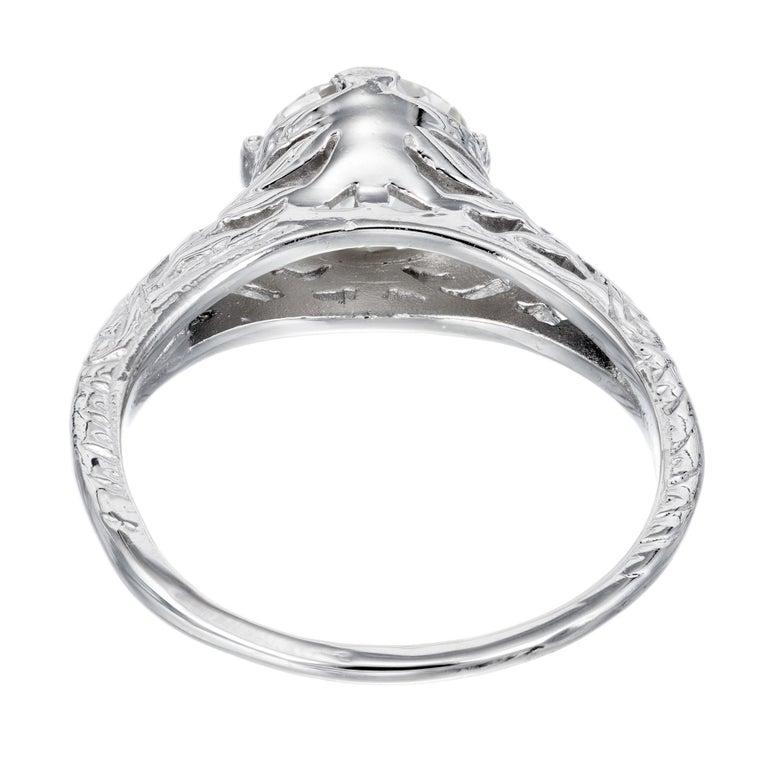 Women's EGL Certified 1.36 Carat Diamond Platinum Art Nouveau Engagement Ring For Sale