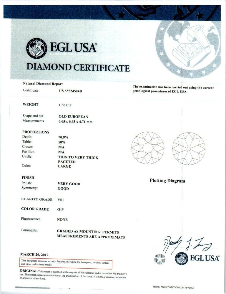 EGL Certified 1.36 Carat Diamond Platinum Art Nouveau Engagement Ring For Sale 2
