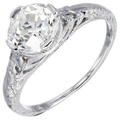 EGL Certified 1.36 Carat Diamond Platinum Art Nouveau Engagement Ring