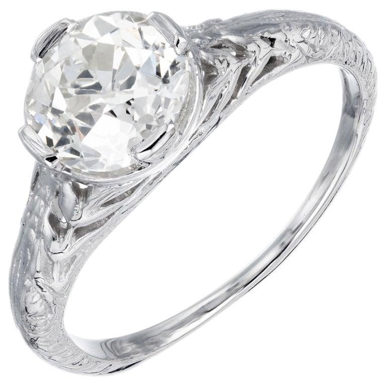 EGL Certified 1.36 Carat Diamond Platinum Art Nouveau Engagement Ring For Sale