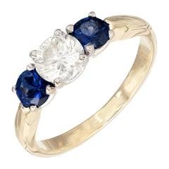 EGL Certified 1.38 Carat Round Diamond Sapphire Three-Stone Gold Engagement Ring