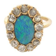 EGL Certified 14 Karat 1.15 Carat Black Boulder Opal and Diamond Ring