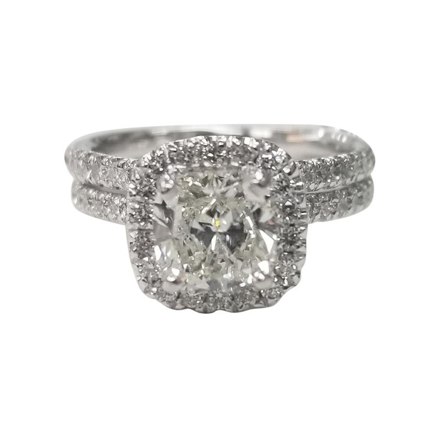 EGL Certified 1.40 Carat Cushion Cut Diamond in a Diamond Halo Wedding Set