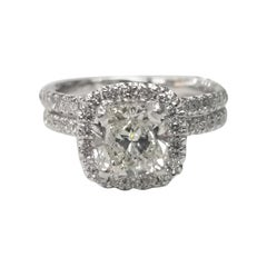 EGL Certified 1.40 Carat Cushion Cut Diamond in a Diamond Halo Wedding Set