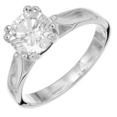 EGL Certified 1.40 Carat Round Brilliant Cut Diamond White Gold Engagement Ring