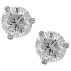 a328da247f8 Round White Diamond Earrings 3.41 Carat White Gold EGL USA ...