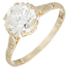 EGL Certified 1.47 Carat Diamond Yellow Gold Solitaire Engagement Ring