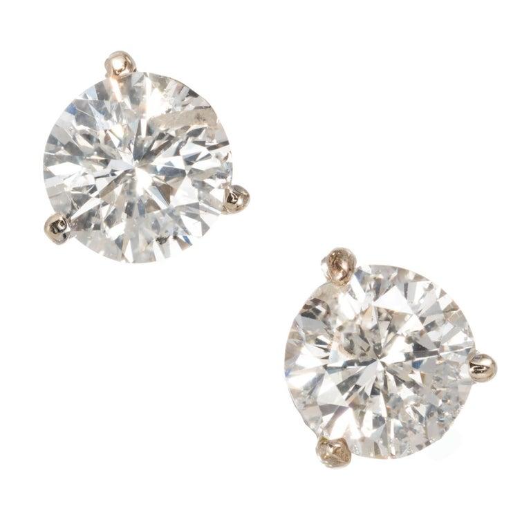 EGL Certified 1.50 Carat Diamond White Gold Basket Set Stud Earrings