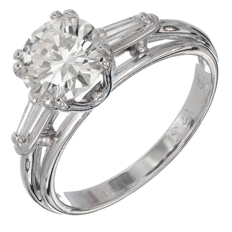 EGL Certified 1.51 Carat Diamond Baguette Gold Three-Stone Engagement Ring For Sale