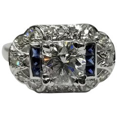 EGL Certified 1.52 Brilliant Cut D SI3 Art Deco Style Ring