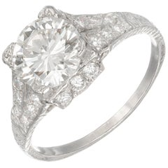 EGL Certified 1.56 Carat Diamond Platinum Art Deco Cut Engagement Ring