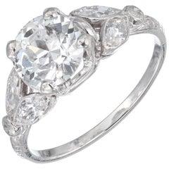 EGL Certified 1.57 Carat Diamond Platinum Art Deco Engagement Ring