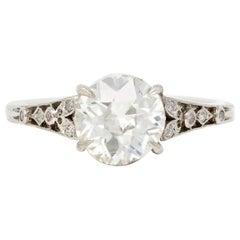 EGL Certified 1.68 Carat Old European cut Diamond Engagement Ring in Platinum
