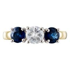 EGL Certified 1.69 Carat Diamond Sapphire Gold Three-Stone Wedding Band Ring