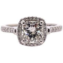 EGL Certified 1.79 Carat Natural Cushion Diamond I SI2 Platinum Engagement Ring