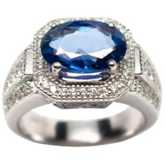 Egl Certified 18 Karat White Gold 3.70 Carat Sapphire 0.76 Diamond Ring