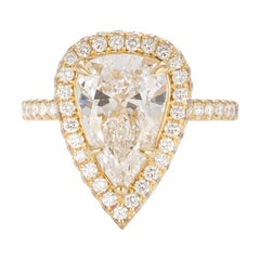EGL Certified 18 Karat Yellow Gold and Pear Diamond Halo Ring 3.16 Carat E/VS2