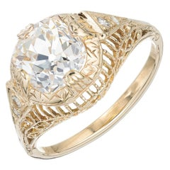 EGL Certified 1.92 Carat Diamond Yellow Gold Domed Engagement Ring