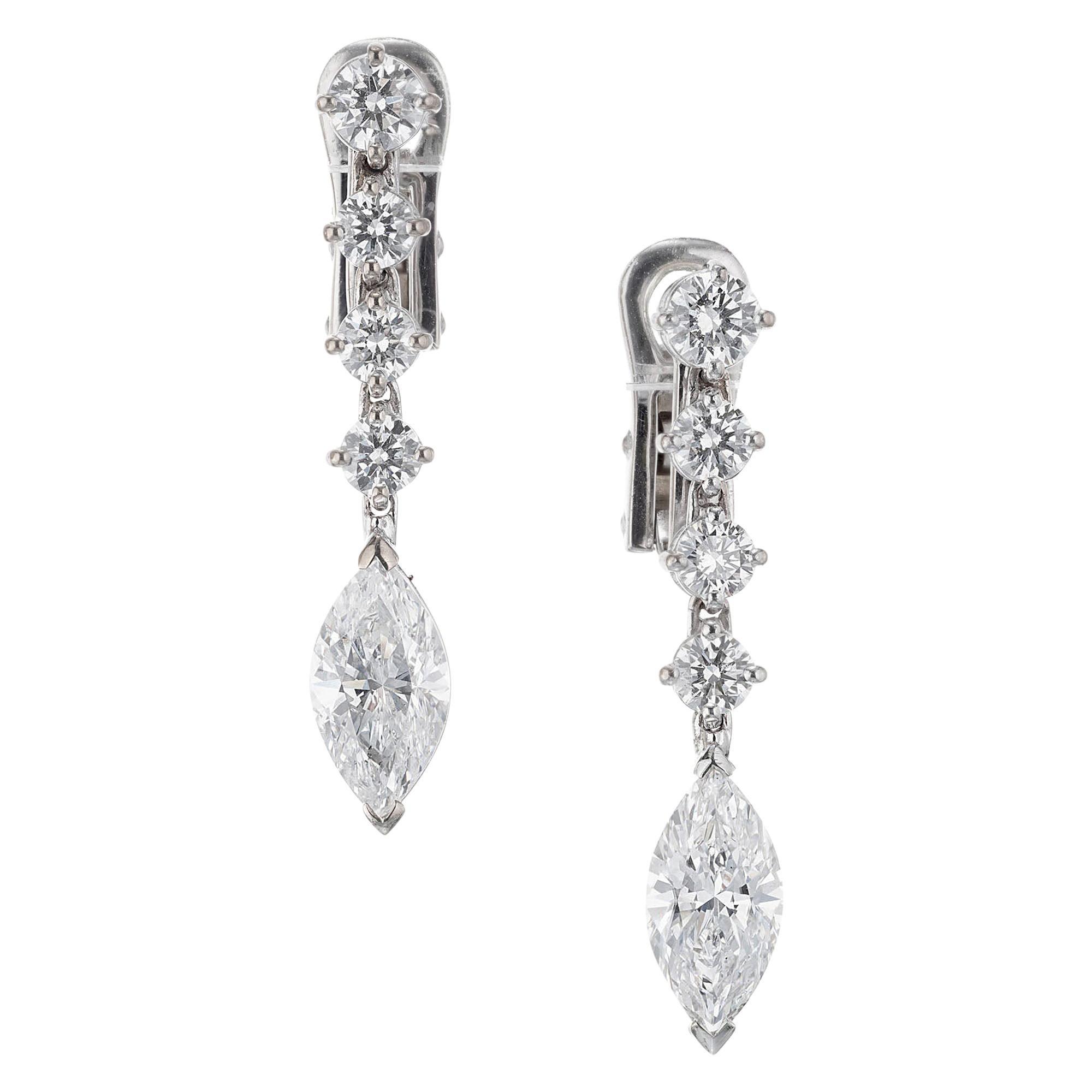 EGL Certified 2.20 Carat Diamond White Gold Dangle Drop Earrings