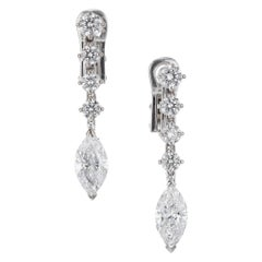 EGL Certified 2.20 Carat Diamond White Gold Dangle Drop Earrings