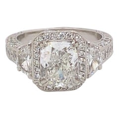 EGL Certified 2.21 Carat F Color Cushion Diamond with Half Moons Ring Platinum