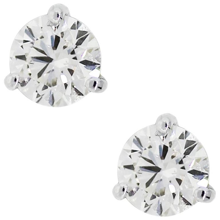 EGL Certified 2.45 Total Carat Weight Round Brilliant Diamond Stud Earrings For Sale