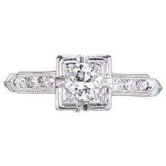 EGL Certified .25 Carat Old European Diamond Art Deco Gold Engagement Ring