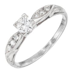 EGL Certified .26 Carat Diamond Transitional Cut Platinum Engagement Ring