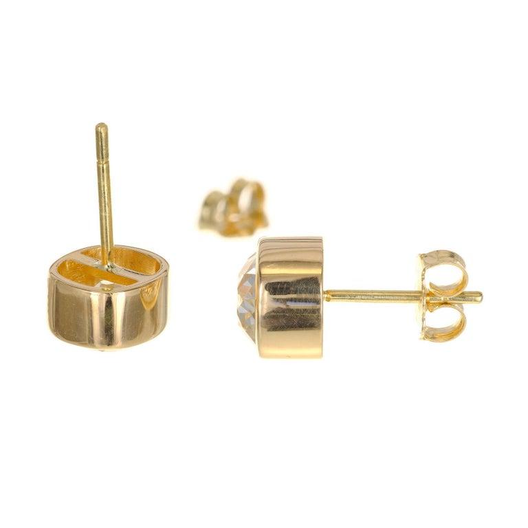 Old Mine Cut EGL Certified 2.61 Carat Diamond Yellow Gold Bezel Set Stud Earrings For Sale