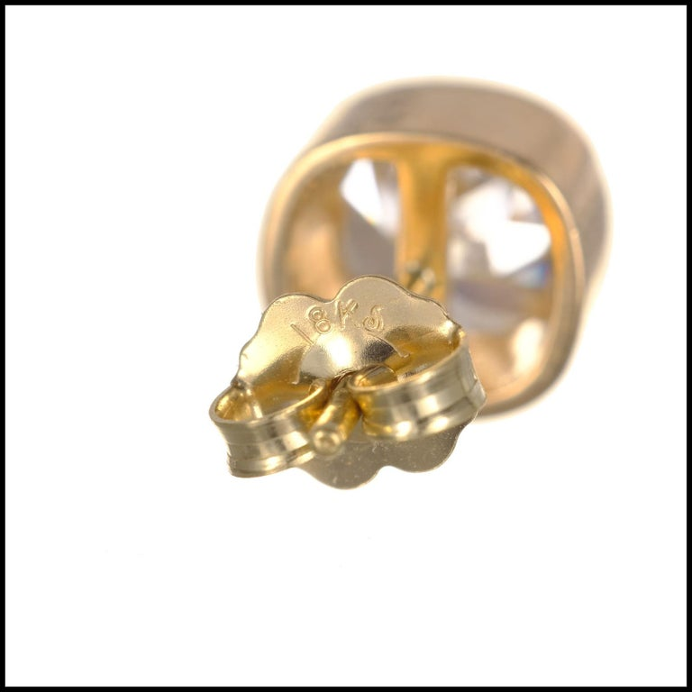 EGL Certified 2.61 Carat Diamond Yellow Gold Bezel Set Stud Earrings In Excellent Condition For Sale In Stamford, CT