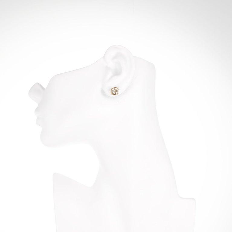 Women's EGL Certified 2.61 Carat Diamond Yellow Gold Bezel Set Stud Earrings For Sale