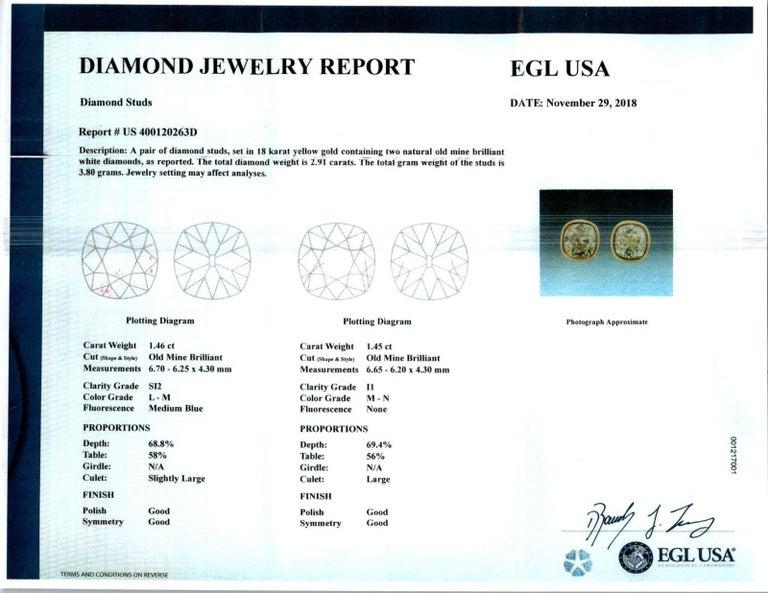 EGL Certified 2.61 Carat Diamond Yellow Gold Bezel Set Stud Earrings For Sale 1