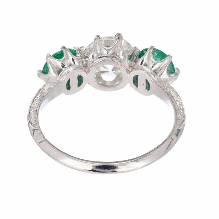 Old European Cut EGL Certified 2.69 Carat Diamond Emerald Art Deco Platinum Engagement Ring For Sale