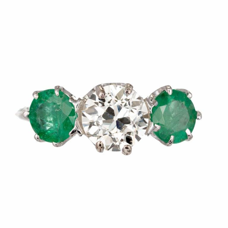 Women's EGL Certified 2.69 Carat Diamond Emerald Art Deco Platinum Engagement Ring For Sale