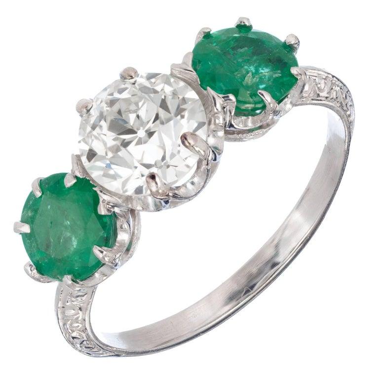 EGL Certified 2.69 Carat Diamond Emerald Art Deco Platinum Engagement Ring For Sale